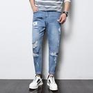 FINDSENSE H1日本 四季款 新款 潮男 個性破洞 淺色牛仔褲 哈倫褲
