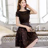 套裝裙 新款韓版大尺碼連身裙時尚短裙短袖女裝潮流兩件套連身裙