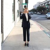 西裝套裝 韓國秋冬休閒韓版雙排扣寬鬆西裝氣質顯瘦女 迪澳安娜