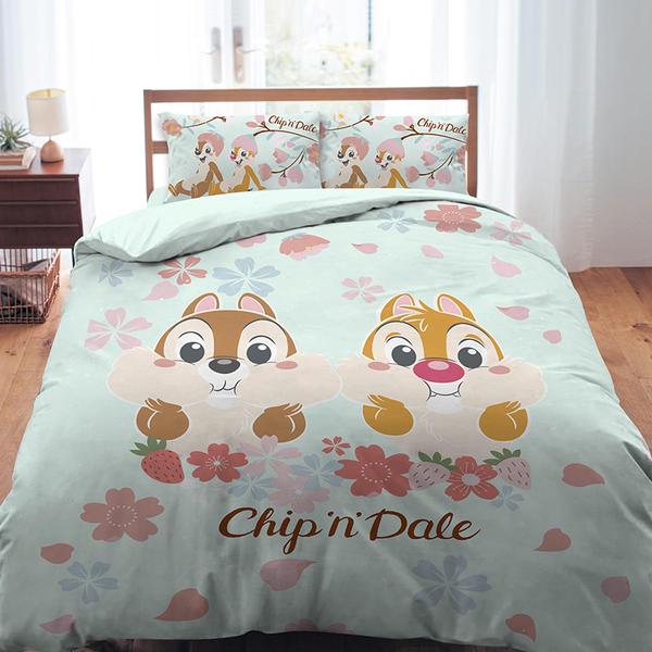 床包被套組 / 雙人【迪士尼奇奇蒂蒂-櫻花季系列】含兩件枕套 高密度磨毛 戀家小舖台灣製ABF212