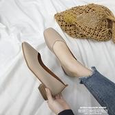 中跟鞋 單鞋女秋季新款韓版粗跟方頭復古奶奶鞋淺口百搭中跟瑪麗珍鞋 夏季新品