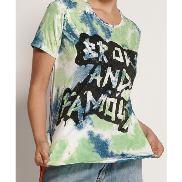 ONETEASPOON WW BROKE AND FAMOUS TIE DYE GIRLFRIEND TEE T恤-綠(女)