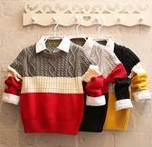 男童針織上衣 男童秋冬長袖毛衣 男童長袖上衣 童裝中大童麻花拼色套頭毛衫兒童針織衫