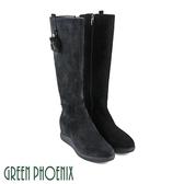 U35-27811 女款全真皮長靴   金屬絨毛鏤空圓形牛麂皮內增高長靴【GREEN PHOENIX】