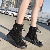 馬丁靴 英倫風短靴 粗跟系帶帶扣靴子 沙漠靴