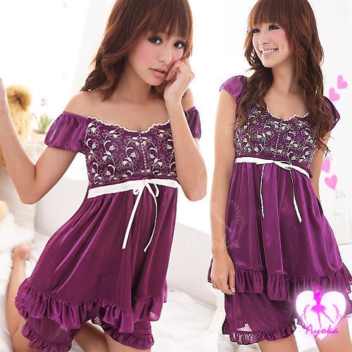 睡衣 性感睡衣 深紫緹花小蓋袖性感睡衣+短褲 星光密碼A108
