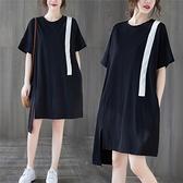 洋裝 中大尺碼 時尚大碼T恤裙子胖mm夏季新款寬鬆韓版下擺不規則拼色短袖連身裙