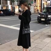 長袖洋裝初秋季 新款復古法式連帽寬鬆慵懶風衛衣裙長款過膝 科炫數位