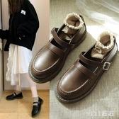 加絨小皮鞋女學院風韓版百搭復古英倫風圓頭平底黑色單鞋女款 OO1776【VIKI菈菈】
