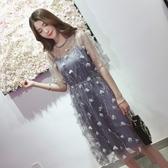 蕾絲洋裝 大碼減齡連身裙夏裝微胖妹妹網紗裙吊帶裙兩件套遮肉長裙 麗人印象 免運