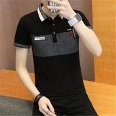 短袖POLO衫夏季T恤男個性印花條紋潮流修身青少T《印象精品》t261
