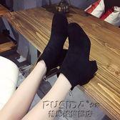 英倫風短靴裸靴裸靴秋冬季新款英倫風復古百搭加絨粗跟韓版靴子高跟短靴