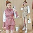 VK精品服飾 韓系燈芯絨高領時尚休閒洋氣短褲套裝長袖褲裝