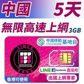 【TPHONE上網專家】中國無限上網 5天 前面3GB支援高速 使用中國移動訊號 不須翻牆 FB/LINE直接用
