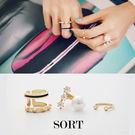 戒指 3件組 歐美時尚個性鉚釘水鑽珍珠 開口式戒指 【1DDR0011】