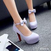 蝴蝶結大碼高跟鞋 偽娘變裝皮鞋粗高跟        瑪奇哈朵