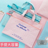 手提文件袋a4雙層拉鏈大容量多層帆布防水【小檸檬3C】