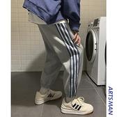 秋季條紋束腳休閒長褲韓版寬鬆潮流衛褲直筒運動褲子快速出貨