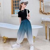女童套裝 網紅短袖套裝薄款2021新款洋氣時尚燈籠褲夏裝兩件套兒童衣服【快速出貨】