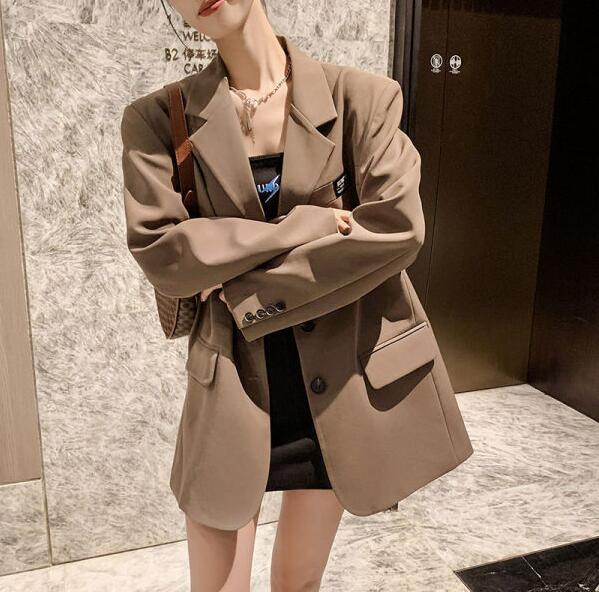 S-4XL西藏外套~OL職業西裝制服~休閑小西服小個子寬松闊版西裝外套女A6028.NA27C日韓屋