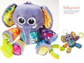 貝比幸福小舖【90099-I3】 美國Lamaze拉瑪澤—可愛浣熊多功能嬰兒床掛 響紙 磨牙膠