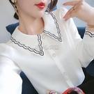 2021春裝新款襯衫女長袖刺繡領設計感小眾洋氣上衣多排扣百搭小衫 快速出貨