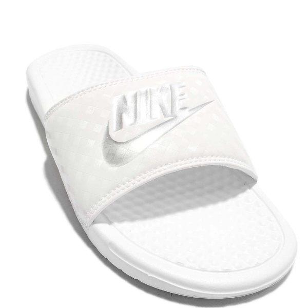 Nike 拖鞋 Wmns Benassi JDI 鑽石 格紋 白 銀 女鞋 百搭款 基本款 【PUMP306】 343881-102