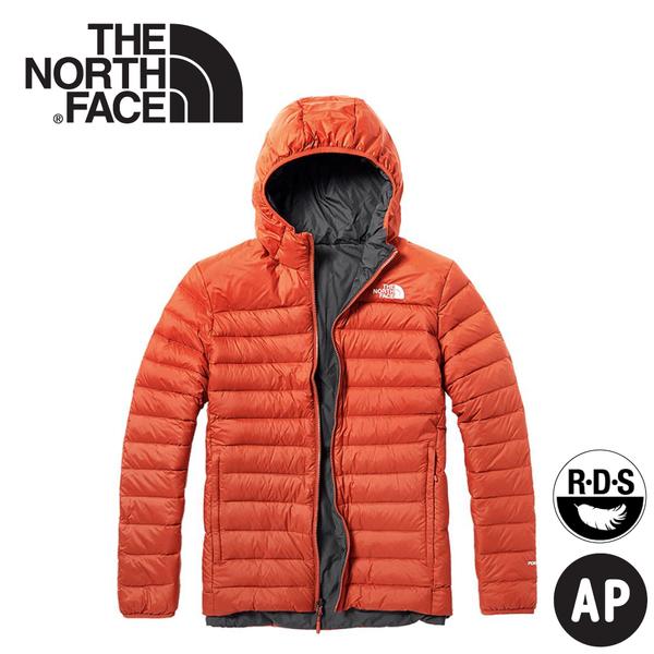【The North Face 男 700FP雙面羽絨外套《橘紅/深灰》】3KTE/羽絨衣/保暖外套