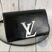 BRAND楓月 LOUIS VUITTON LV M41627 黑色 漆皮 EPI 水波紋 LOGO 銀釦 斜背包