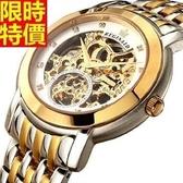 機械錶-陀飛輪自動鏤空超薄18K金時尚男腕錶4色66ab8【時尚巴黎】