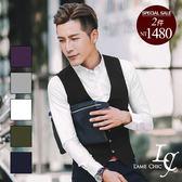 男 長袖窄版襯衫 L AME CHIC 韓國製 質感暗紋俐落滑面精梳棉窄版修身長袖襯衫【DTLS071505】