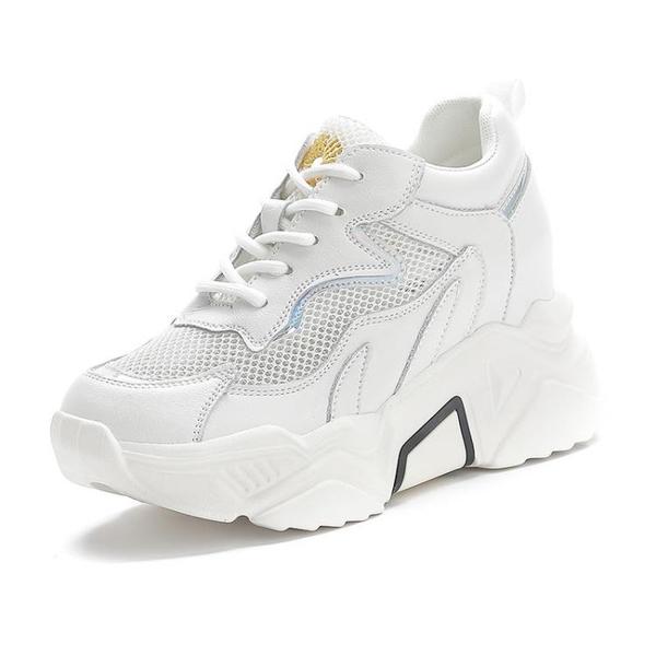 鬆糕鞋 2021新款夏季透氣內增高老爹女鞋網紅百搭單鞋網面厚底休閒運動鞋 快速出貨