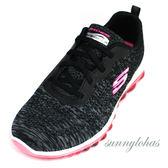 SKECHERS(女) SKECH-AIR系列 氣墊 運動鞋 健走鞋 免綁帶 避震-12218BKHP 黑 [陽光樂活]