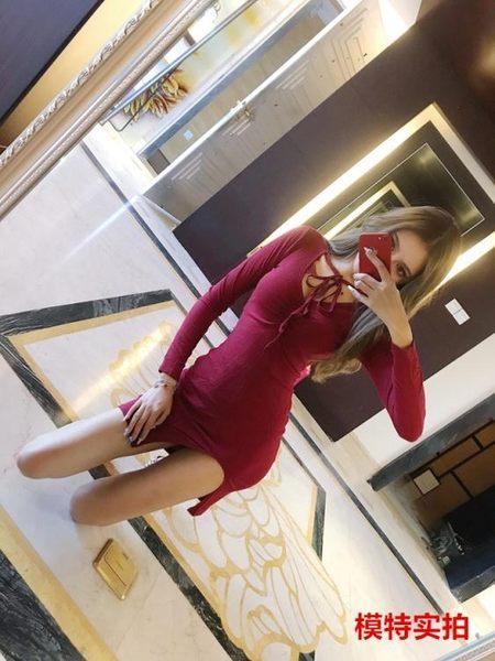 洋裝A305性感名媛低胸V領蝴蝶結綁帶螺紋針織長袖開叉打底連身裙DS5F-515-B紅粉佳人