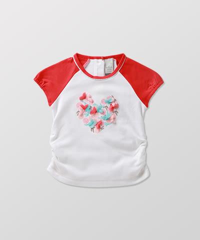 Hallmark Babies 春夏女童長絨純棉休閒短袖T恤上衣 HE1-Y01-09-KG-PR