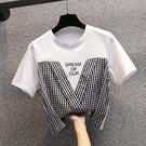 大碼拼接格子圓領短T L-4XL大碼時尚格子拼結印花短袖T恤百搭4857 R04 胖妞衣櫥