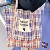 沙灘包 韓國ins潮流款小眾設計時尚百搭大容量單肩包女PE編織袋手提大包