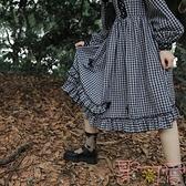 洛麗塔日常裙立體蝴蝶法式黑白連身裙洋裝【聚可愛】