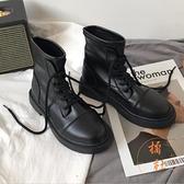 馬丁靴女秋冬加絨復古百搭機車短靴子工裝靴【橘社小鎮】