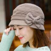 漁夫帽子女士盆帽蝴蝶結毛混紡針織毛線帽保暖 小艾時尚