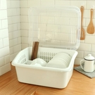 廚房碗筷收納盒碗柜塑料帶蓋帶瀝水碗架...