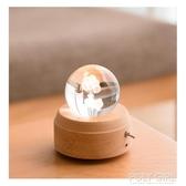 樹德豬豬玻璃球水晶球夜燈音樂盒燈光擺件音樂盒卡農旋轉木質禮物 ATF polygirl