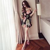 2019春夏裝新款小清新寬鬆露肩碎花雪紡連身裙女超仙沙灘吊帶裙子