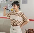 彩色條紋t恤 女短袖寬鬆港風polo衫可愛夏學生半截袖2020新款 JX1534『Bad boy時尚』