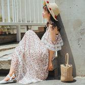 VK旗艦店 韓系時尚海邊度假的碎花沙灘裙短袖洋裝