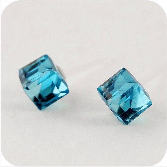 ►耳環 水立方水晶耳釘耳飾 韓國首飾品 新款【B1120】