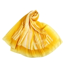 LANVIN渲染直紋草寫LOGO印花披肩絲巾(黃色)487999