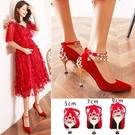 中式婚鞋女新款細跟紅色結婚鞋子