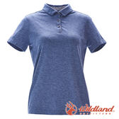 【wildland 荒野】女 彈性本布領POLO上衣『灰藍』0A71639 T恤 POLO衫 上衣 短袖 排汗 休閒 戶外 登山