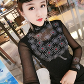 #秋裝高領打底衫洋氣網紗鑲鉆上衣高檔修身百搭小衫PF462-A快時尚